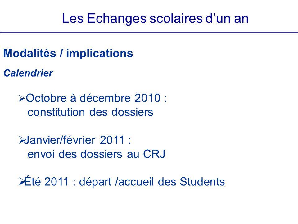 Les Echanges scolaires dun an Modalités / implications Calendrier Octobre à décembre 2010 : constitution des dossiers Janvier/février 2011 : envoi des