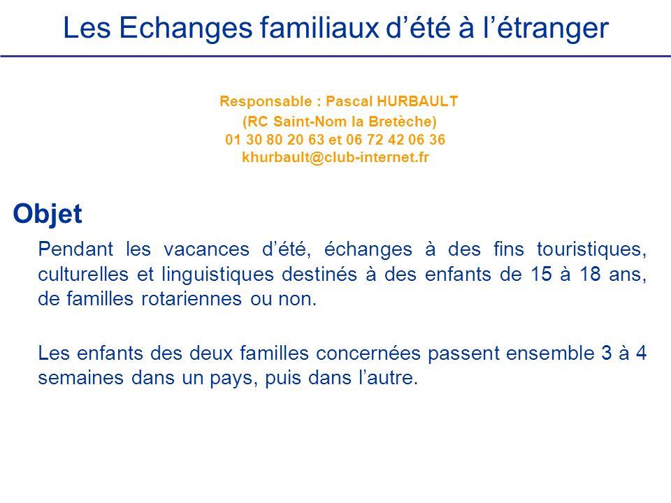 Les Echanges familiaux dété à létranger Responsable : Pascal HURBAULT (RC Saint-Nom la Bretèche) 01 30 80 20 63 et 06 72 42 06 36 khurbault@club-inter