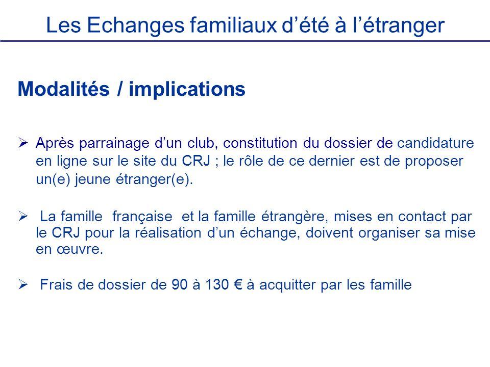 Les Echanges familiaux dété à létranger Modalités / implications Après parrainage dun club, constitution du dossier de candidature en ligne sur le sit