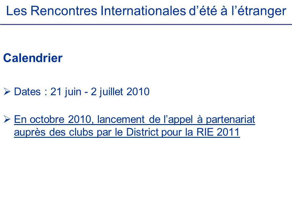 Les Rencontres Internationales dété à létranger Calendrier Dates : 21 juin - 2 juillet 2010 En octobre 2010, lancement de lappel à partenariat auprès
