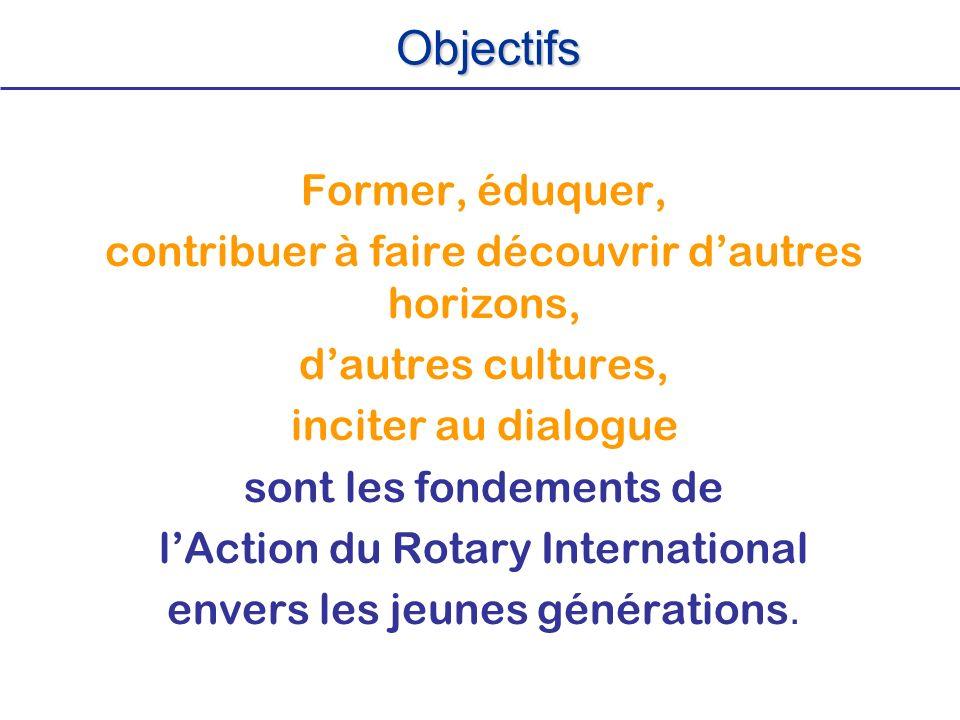Former, éduquer, contribuer à faire découvrir dautres horizons, dautres cultures, inciter au dialogue sont les fondements de lAction du Rotary Interna