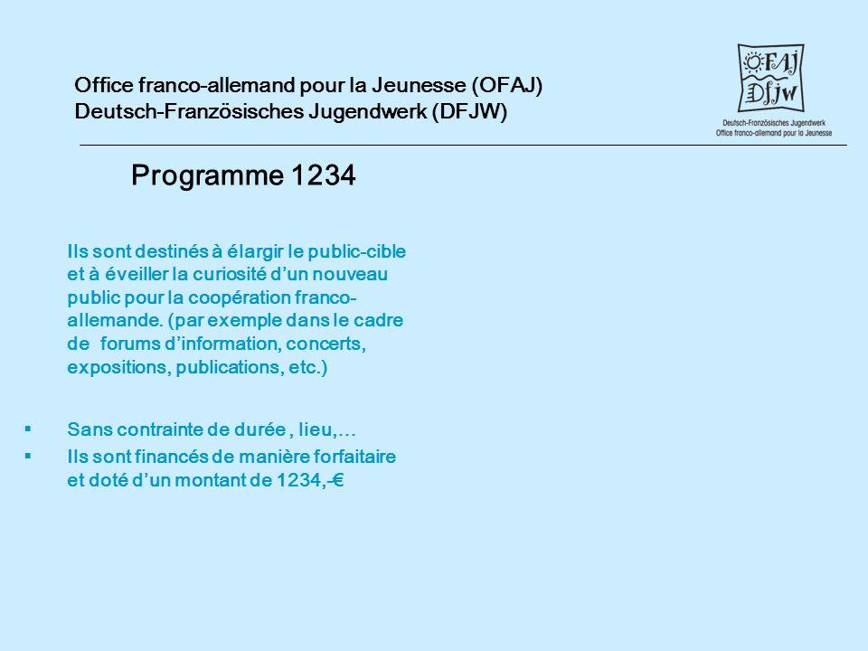 Office franco-allemand pour la Jeunesse (OFAJ) Deutsch-Französisches Jugendwerk (DFJW) Programme 1234 Ils sont destinés à élargir le public-cible et à éveiller la curiosité dun nouveau public pour la coopération franco- allemande.