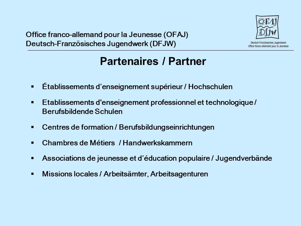 Office franco-allemand pour la Jeunesse (OFAJ) Deutsch-Französisches Jugendwerk (DFJW) Établissements denseignement supérieur / Hochschulen Etablissem