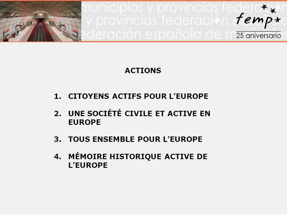 ACTIONS 1.CITOYENS ACTIFS POUR LEUROPE 2.UNE SOCIÉTÉ CIVILE ET ACTIVE EN EUROPE 3.TOUS ENSEMBLE POUR LEUROPE 4.MÉMOIRE HISTORIQUE ACTIVE DE LEUROPE