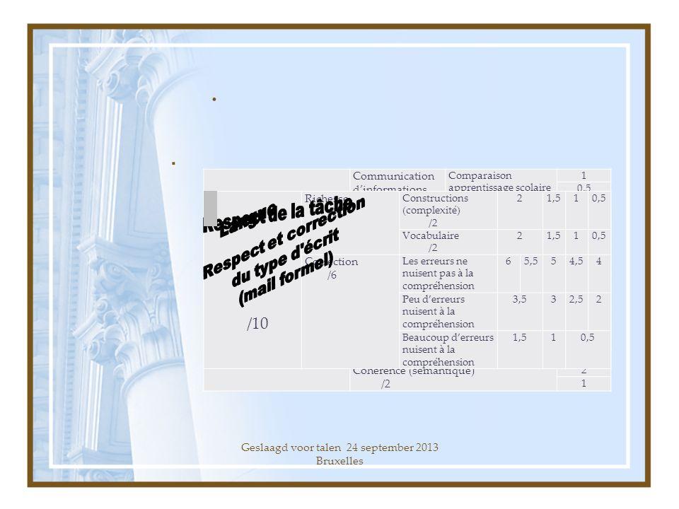 Geslaagd voor talen 24 september 2013 Bruxelles..