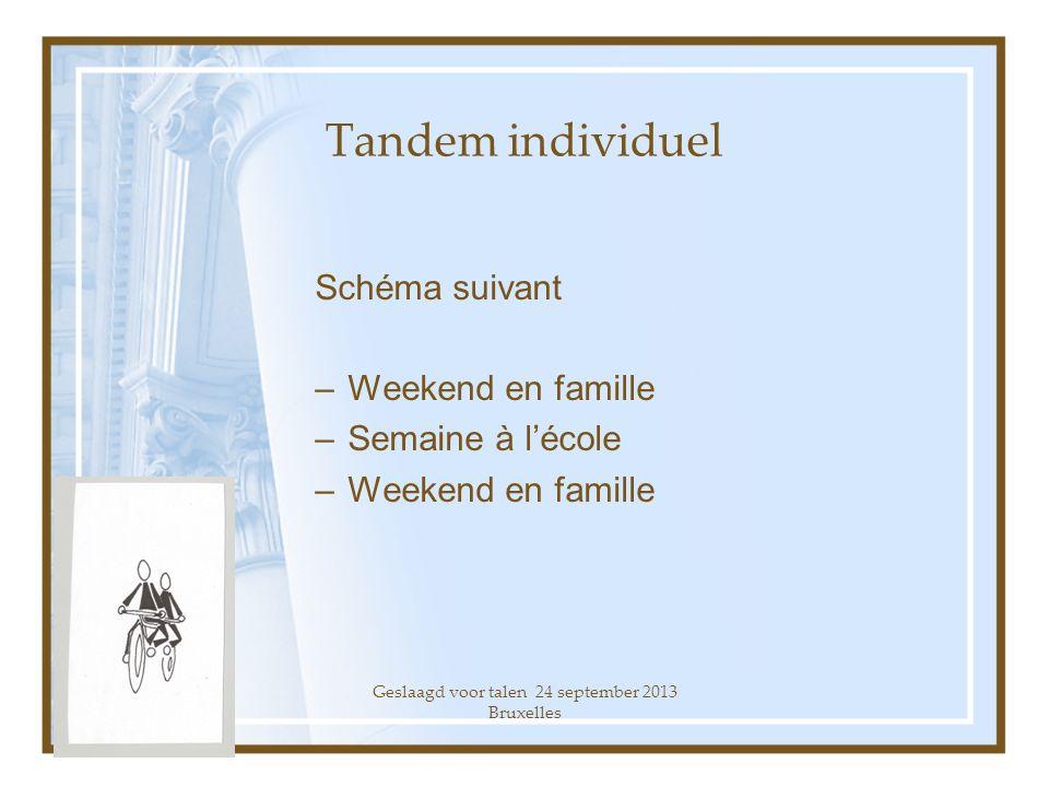 Geslaagd voor talen 24 september 2013 Bruxelles Schéma suivant –Weekend en famille –Semaine à lécole –Weekend en famille Tandem individuel