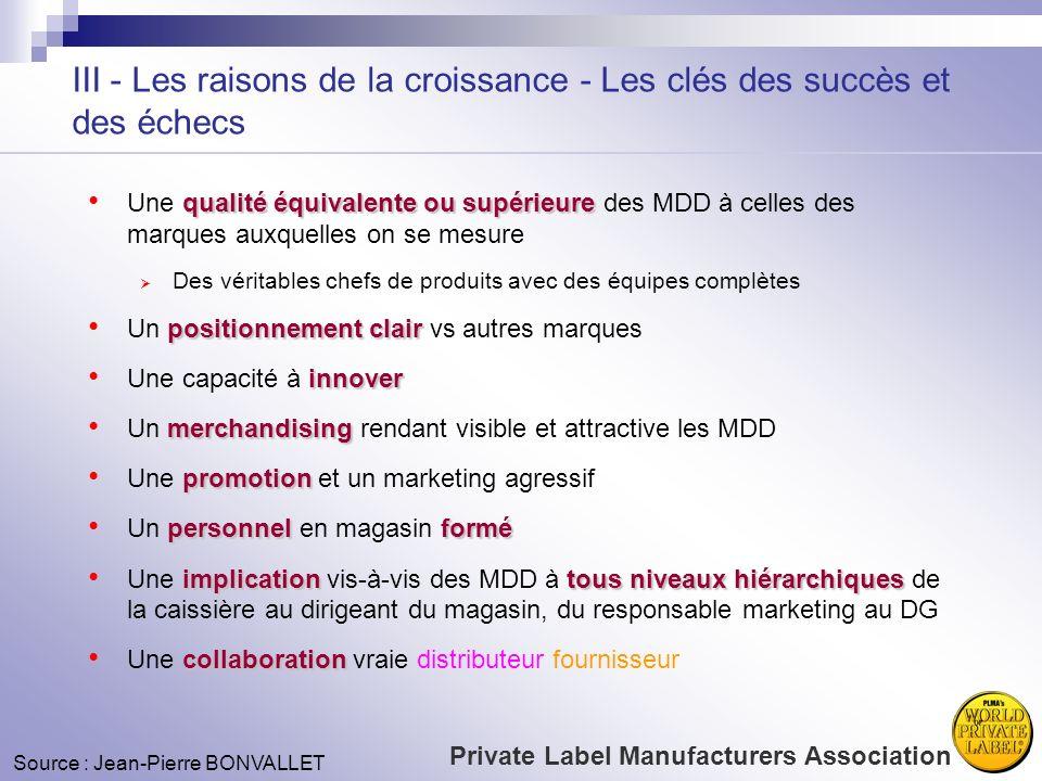 III - Les raisons de la croissance - Les clés des succès et des échecs qualité équivalenteou supérieure Une qualité équivalente ou supérieure des MDD