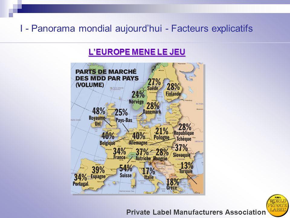 I - Panorama mondial aujourdhui - Facteurs explicatifs Private Label Manufacturers Association LEUROPE MENE LE JEU
