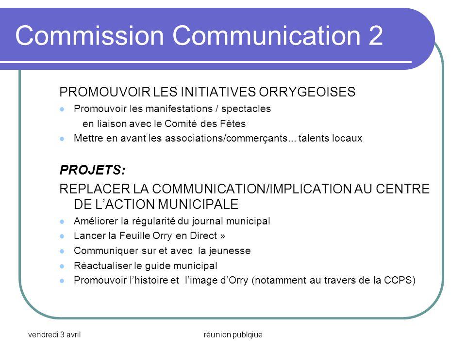 vendredi 3 avrilréunion publqiue Commission Communication 2 PROMOUVOIR LES INITIATIVES ORRYGEOISES Promouvoir les manifestations / spectacles en liais