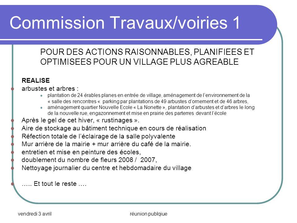 vendredi 3 avrilréunion publqiue Commission Travaux/voiries 1 POUR DES ACTIONS RAISONNABLES, PLANIFIEES ET OPTIMISEES POUR UN VILLAGE PLUS AGREABLE RE