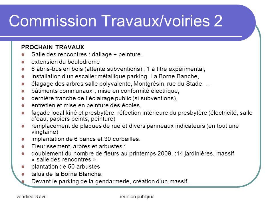 vendredi 3 avrilréunion publqiue Commission Travaux/voiries 2 PROCHAIN TRAVAUX Salle des rencontres : dallage + peinture. extension du boulodrome 6 ab