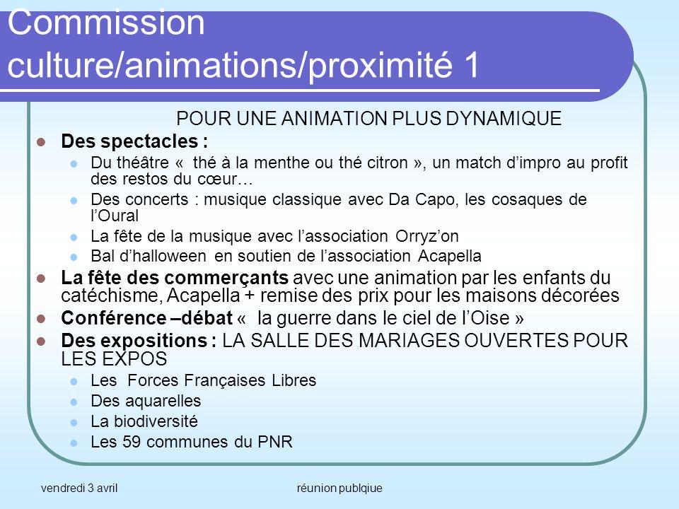 vendredi 3 avrilréunion publqiue Commission culture/animations/proximité 1 POUR UNE ANIMATION PLUS DYNAMIQUE Des spectacles : Du théâtre « thé à la me