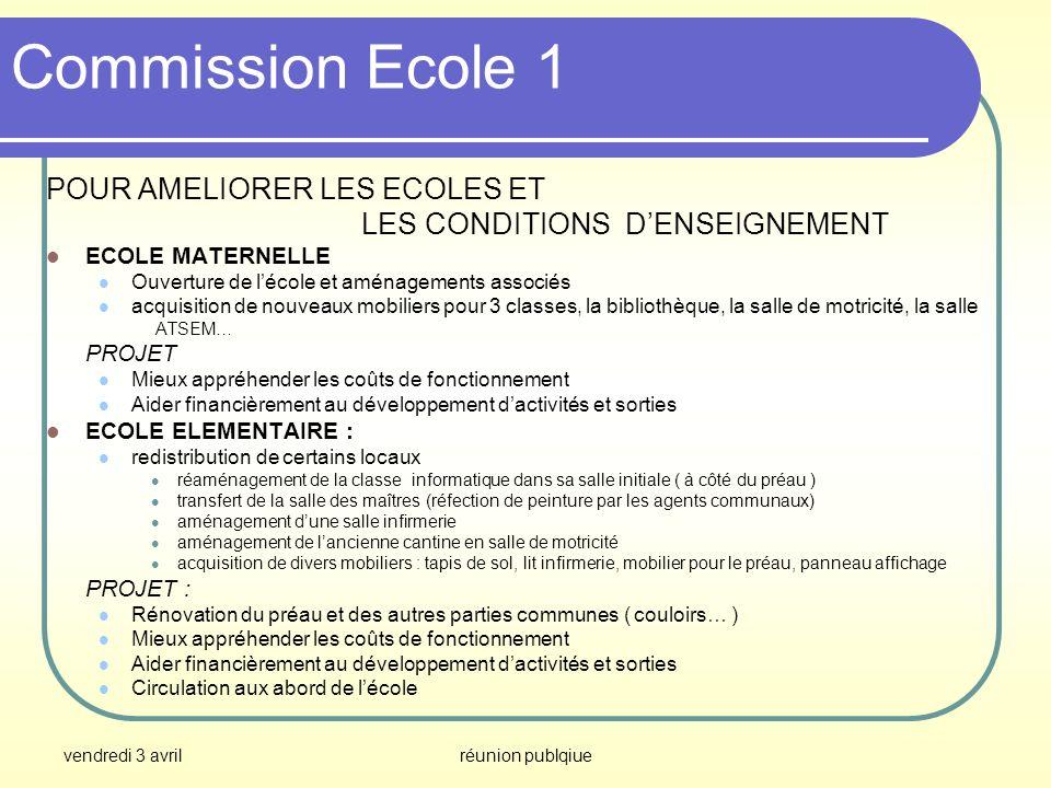 vendredi 3 avrilréunion publqiue Commission Ecole 1 POUR AMELIORER LES ECOLES ET LES CONDITIONS DENSEIGNEMENT ECOLE MATERNELLE Ouverture de lécole et