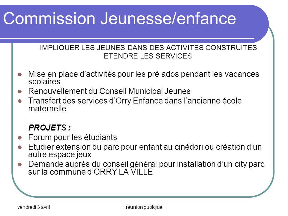 vendredi 3 avrilréunion publqiue Commission Jeunesse/enfance IMPLIQUER LES JEUNES DANS DES ACTIVITES CONSTRUITES ETENDRE LES SERVICES Mise en place da