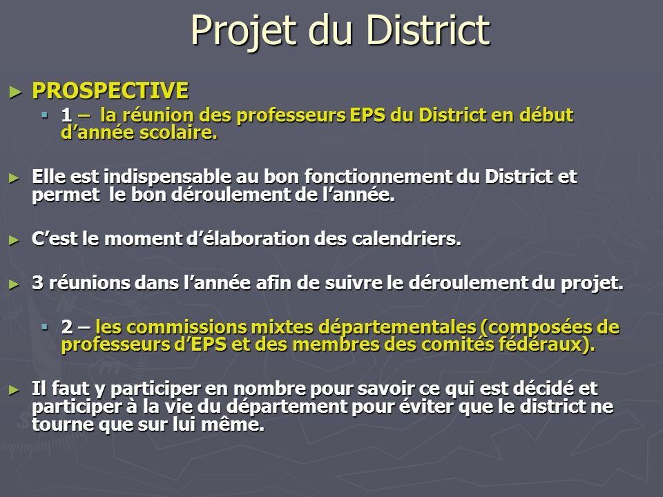 Projet du District PROSPECTIVE PROSPECTIVE 1 – la réunion des professeurs EPS du District en début dannée scolaire. 1 – la réunion des professeurs EPS