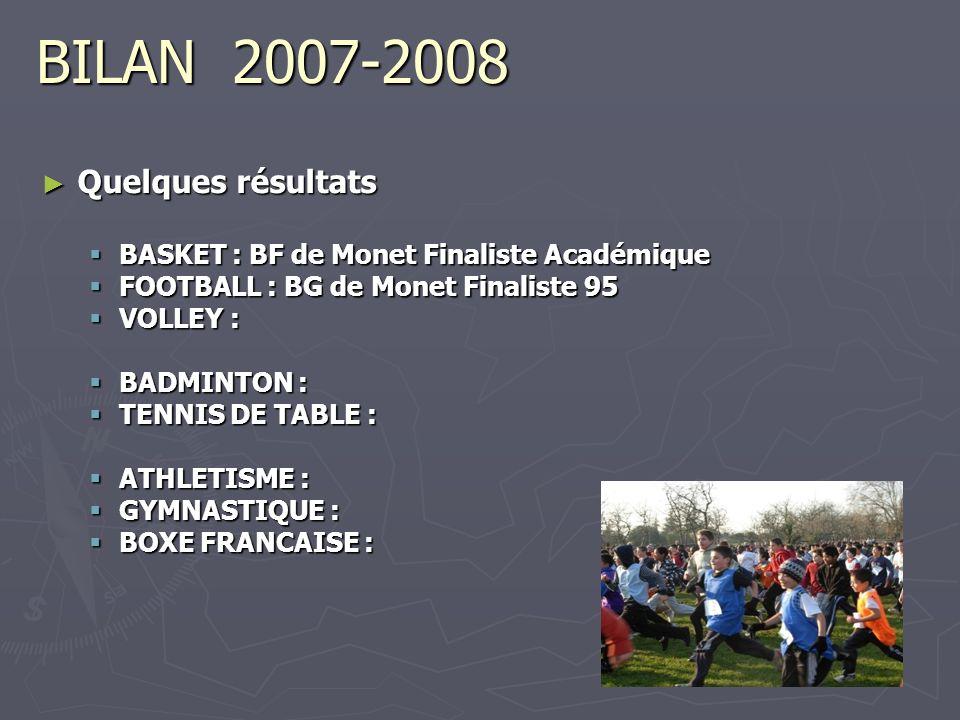 BILAN 2007-2008 Quelques résultats Quelques résultats BASKET : BF de Monet Finaliste Académique BASKET : BF de Monet Finaliste Académique FOOTBALL : B