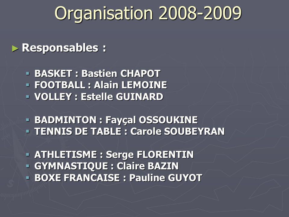Organisation 2008-2009 Responsables : Responsables : BASKET : Bastien CHAPOT BASKET : Bastien CHAPOT FOOTBALL : Alain LEMOINE FOOTBALL : Alain LEMOINE