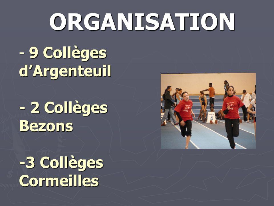 - 9 Collèges dArgenteuil - 2 Collèges Bezons -3 Collèges Cormeilles ORGANISATION
