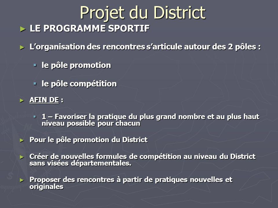 Projet du District LE PROGRAMME SPORTIF LE PROGRAMME SPORTIF Lorganisation des rencontres sarticule autour des 2 pôles : Lorganisation des rencontres