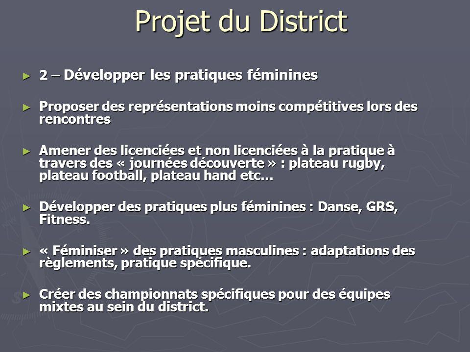 Projet du District 2 – Développer les pratiques féminines 2 – Développer les pratiques féminines Proposer des représentations moins compétitives lors