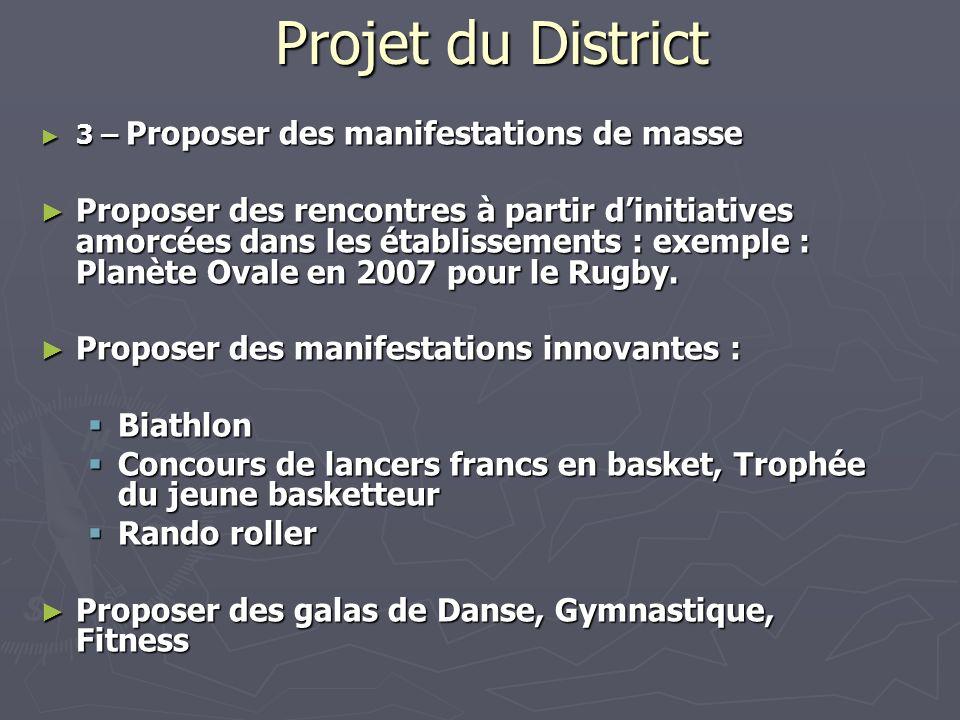 Projet du District 3 – Proposer des manifestations de masse 3 – Proposer des manifestations de masse Proposer des rencontres à partir dinitiatives amo