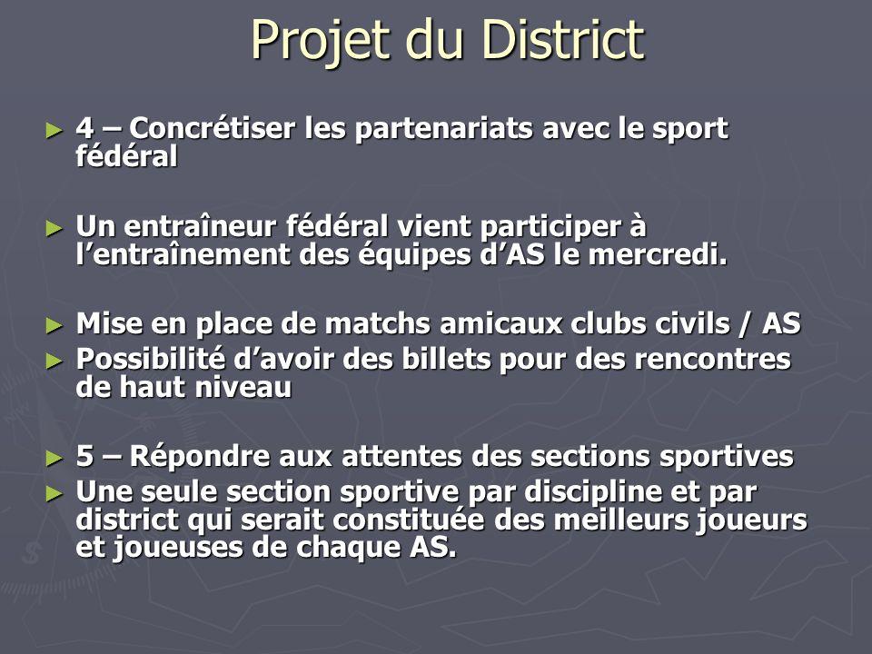 Projet du District 4 – Concrétiser les partenariats avec le sport fédéral 4 – Concrétiser les partenariats avec le sport fédéral Un entraîneur fédéral
