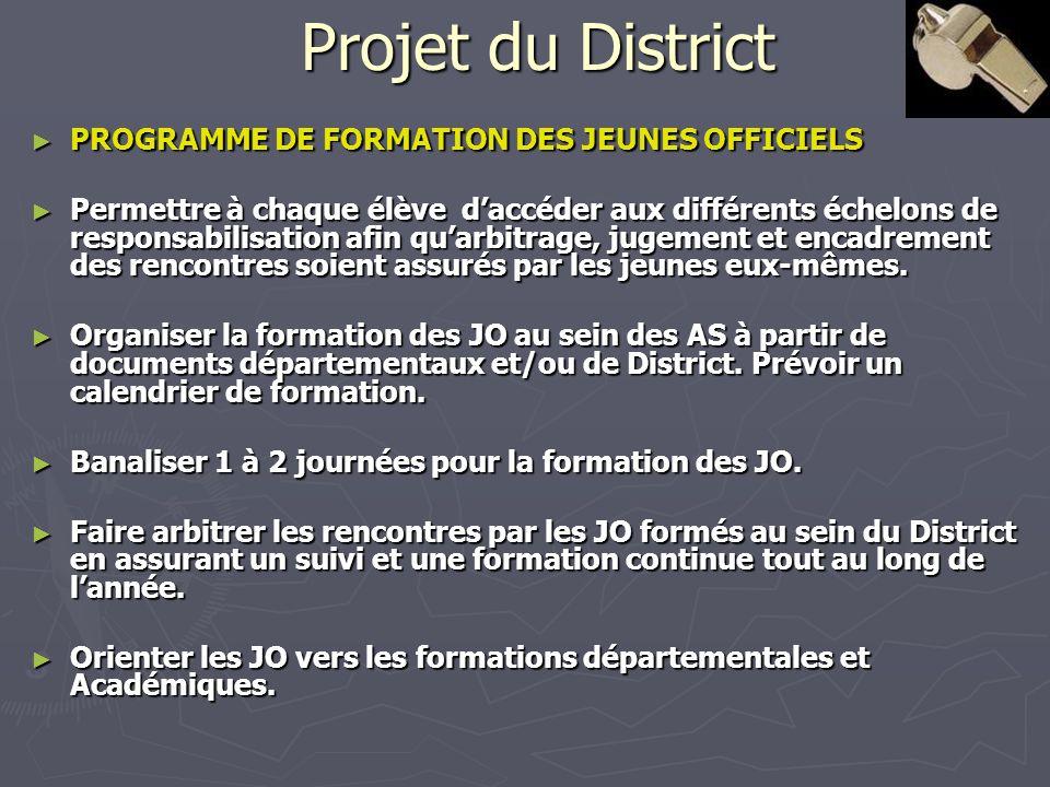 Projet du District PROGRAMME DE FORMATION DES JEUNES OFFICIELS PROGRAMME DE FORMATION DES JEUNES OFFICIELS Permettre à chaque élève daccéder aux diffé
