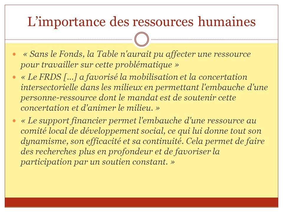 Limportance des ressources humaines « Sans le Fonds, la Table n'aurait pu affecter une ressource pour travailler sur cette problématique » « Le FRDS [