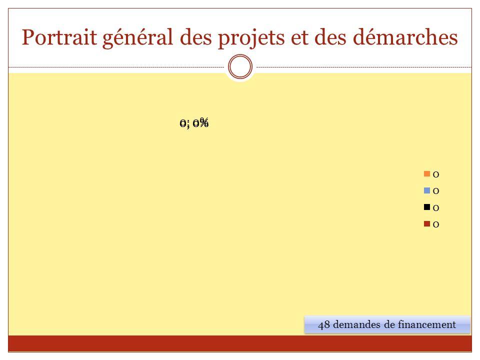 Portrait général des projets et des démarches 48 demandes de financement