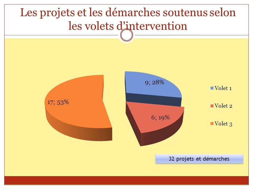 Les projets et les démarches soutenus selon les volets d'intervention