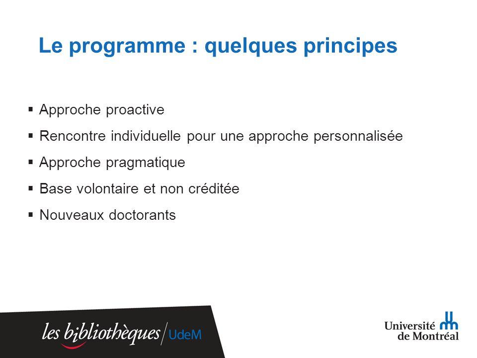 Le programme : quelques principes Approche proactive Rencontre individuelle pour une approche personnalisée Approche pragmatique Base volontaire et non créditée Nouveaux doctorants