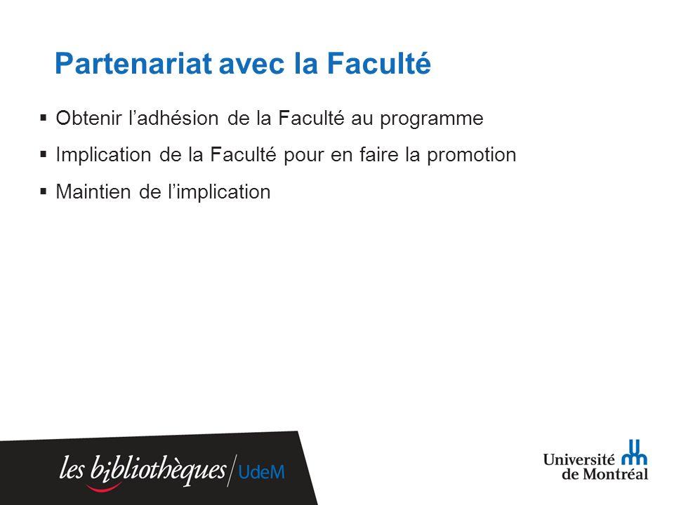 Partenariat avec la Faculté Obtenir ladhésion de la Faculté au programme Implication de la Faculté pour en faire la promotion Maintien de limplication