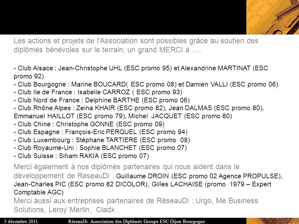 RéseauDi- Association des Diplômés Groupe ESC Dijon Bourgogne3 décembre 2011 Les actions et projets de l'Association sont possibles grâce au soutien d