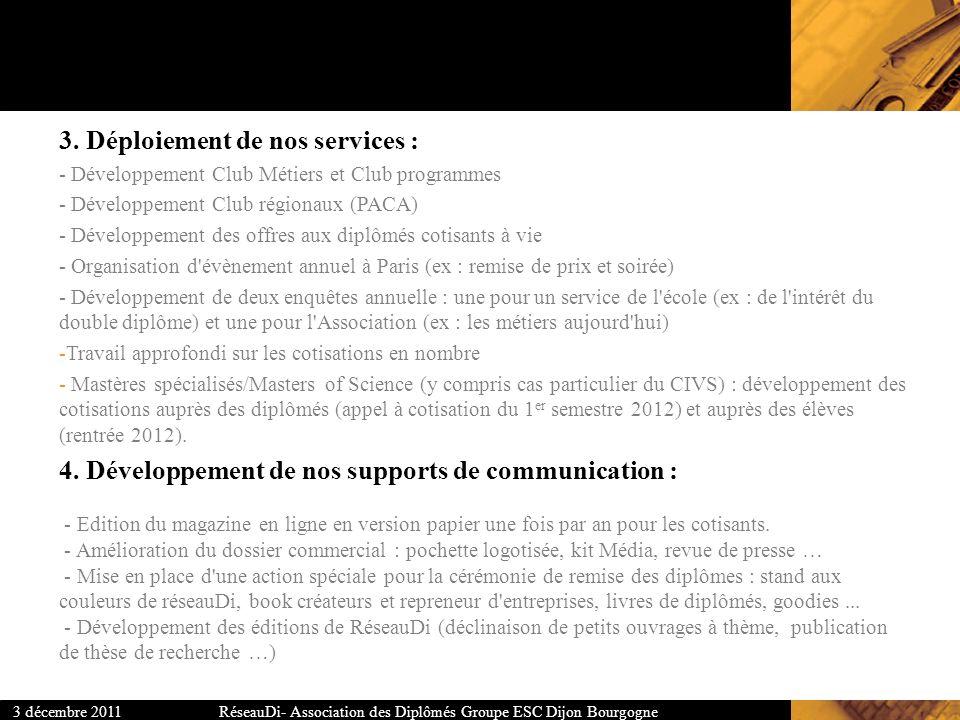 RéseauDi- Association des Diplômés Groupe ESC Dijon Bourgogne3 décembre 2011 3. Déploiement de nos services : - Développement Club Métiers et Club pro