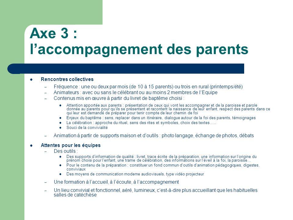 Axe 3 : laccompagnement des parents Rencontres collectives – Fréquence : une ou deux par mois (de 10 à 15 parents) ou trois en rural (printemps/été) –
