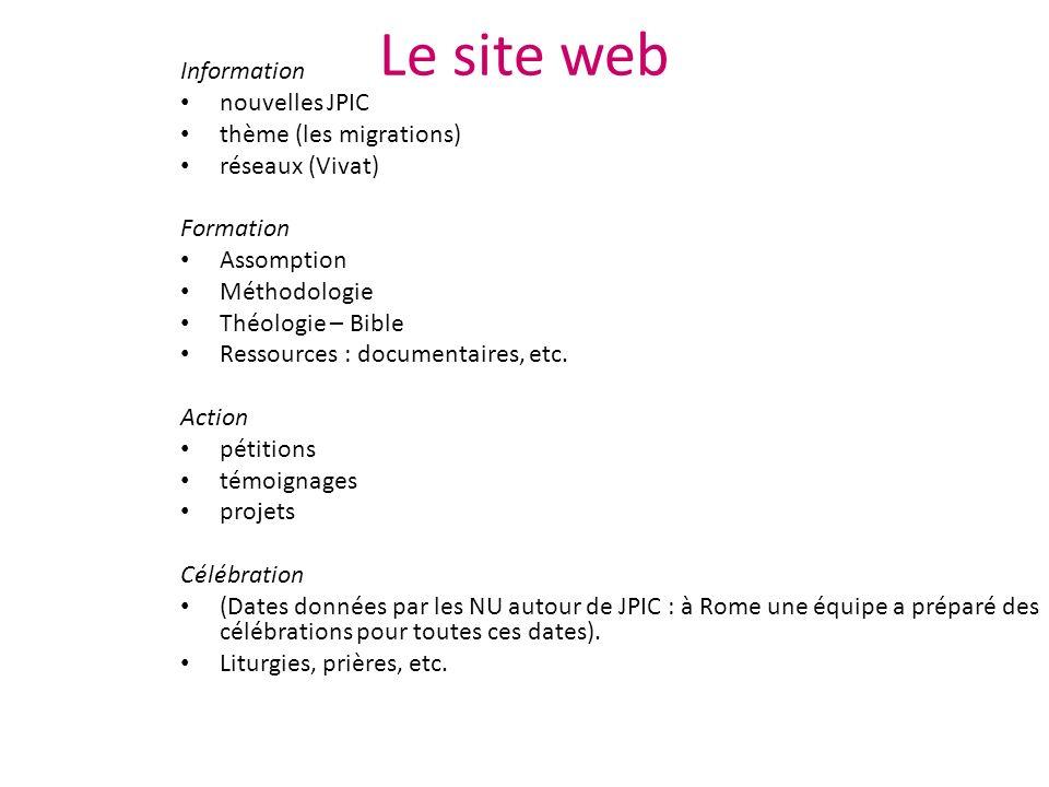 Le site web Information nouvelles JPIC thème (les migrations) réseaux (Vivat) Formation Assomption Méthodologie Théologie – Bible Ressources : documentaires, etc.