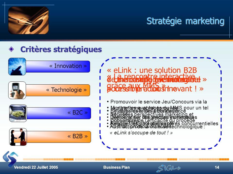Vendredi 22 Juillet 2005Business Plan14 Stratégie marketing Critères stratégiques « Innovation » « Technologie »« B2B »« B2C » « Une campagne innovant