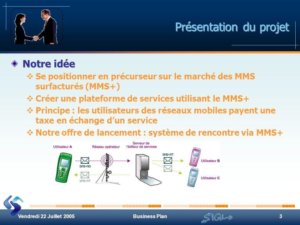 Vendredi 22 Juillet 2005Business Plan3 Présentation du projet Notre idée Se positionner en précurseur sur le marché des MMS surfacturés (MMS+) Créer u