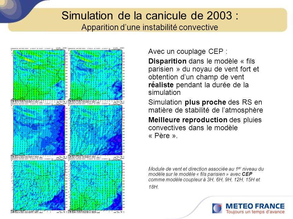 Avec un couplage CEP : Disparition dans le modèle « fils parisien » du noyau de vent fort et obtention dun champ de vent réaliste pendant la durée de
