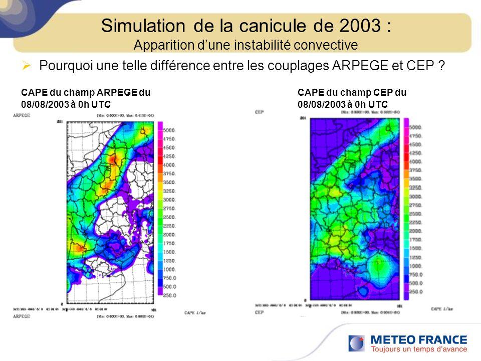 Pourquoi une telle différence entre les couplages ARPEGE et CEP ? CAPE du champ ARPEGE du CAPE du champ CEP du 08/08/2003 à 0h UTC