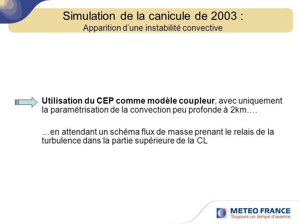 Utilisation du CEP comme modèle coupleur, avec uniquement la paramétrisation de la convection peu profonde à 2km…. …en attendant un schéma flux de mas