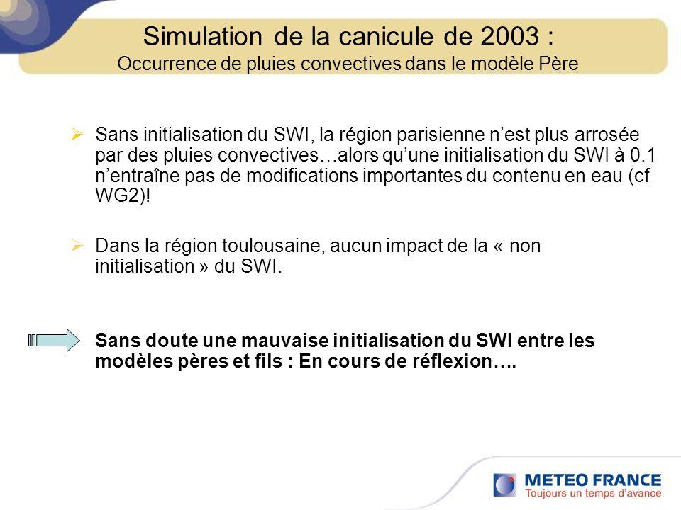 Sans initialisation du SWI, la région parisienne nest plus arrosée par des pluies convectives…alors quune initialisation du SWI à 0.1 nentraîne pas de