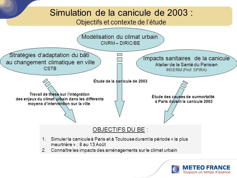 Simulation de la canicule de 2003 : Objectifs et contexte de létude Impacts sanitaires de la canicule Atelier de la Santé du Parisien INSERM (Prof. SP
