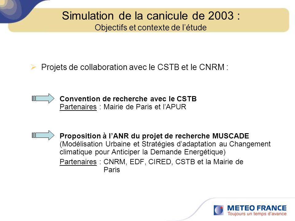 Projets de collaboration avec le CSTB et le CNRM : Convention de recherche avec le CSTB Partenaires : Mairie de Paris et lAPUR Proposition à lANR du p
