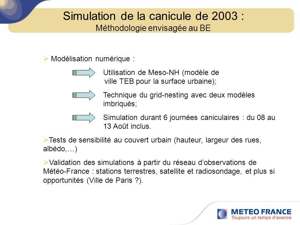 Simulation de la canicule de 2003 : Méthodologie envisagée au BE Modélisation numérique : Utilisation de Meso-NH (modèle de ville TEB pour la surface