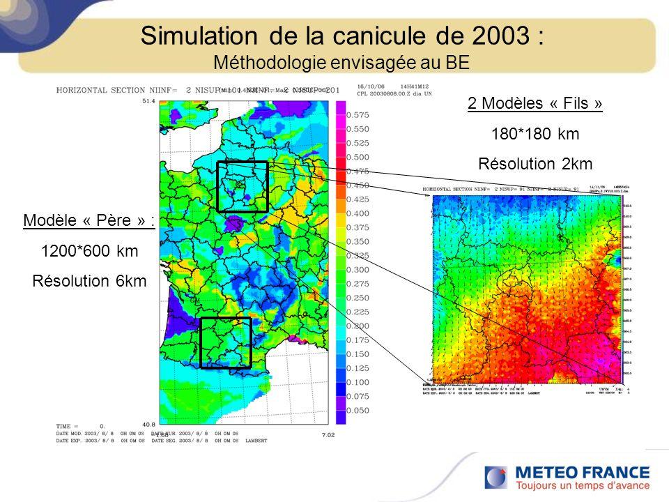 Modèle « Père » : 1200*600 km Résolution 6km 2 Modèles « Fils » 180*180 km Résolution 2km Simulation de la canicule de 2003 : Méthodologie envisagée a