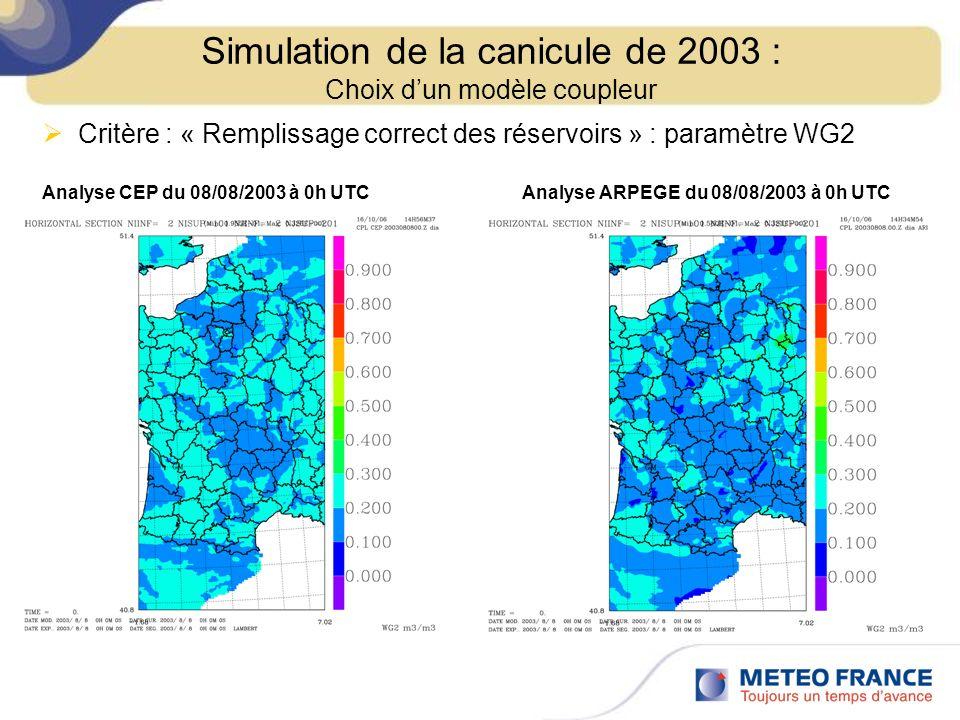 Critère : « Remplissage correct des réservoirs » : paramètre WG2 Analyse CEP du 08/08/2003 à 0h UTCAnalyse ARPEGE du 08/08/2003 à 0h UTC Simulation de