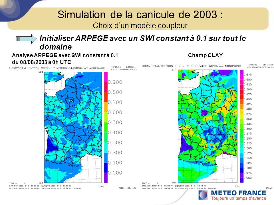 Initialiser ARPEGE avec un SWI constant à 0.1 sur tout le domaine Analyse ARPEGE avec SWI constant à 0.1 Champ CLAY du 08/08/2003 à 0h UTC Simulation
