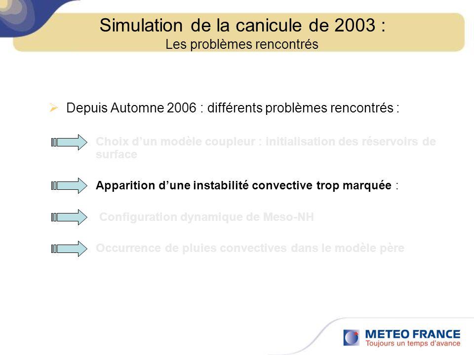 Depuis Automne 2006 : différents problèmes rencontrés : Choix dun modèle coupleur : initialisation des réservoirs de surface Apparition dune instabili