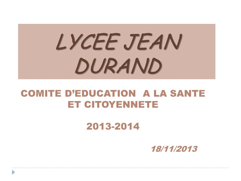 LYCEE JEAN DURAND COMITE DEDUCATION A LA SANTE ET CITOYENNETE 2013-2014 18/11/2013